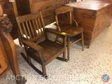 Antique Wooden Rocking Chair and Antique Wooden Children's Chair