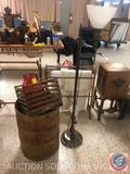 Metal Floor Lamp, Wood Barrel, Wood Crate and Metal Broadway Cry Milk Jug Painted Red with Eagle and