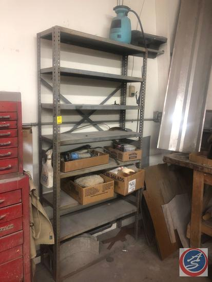 "Metal Eight Tier Shelving Unit Measuring 36"" X 12"" X 75"" and Contents Including 3M Flexible Package"