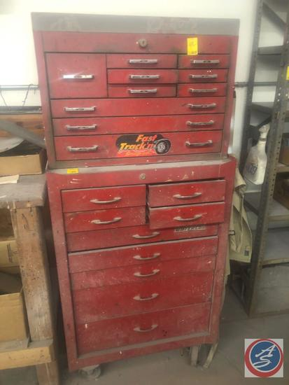 "{{2X$BID}} Waterloo Tool Chest Base On Casters Measuring 26 1/2"" X 18"" X 39 1/2"" and Mac Tools Top"