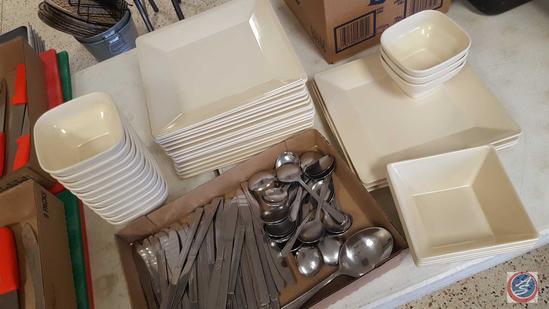 Thunder Group Tar-Hong Melmac Dishes: (14) Square Plates; (19) Dipping Dishes; (5) Square Bowls;