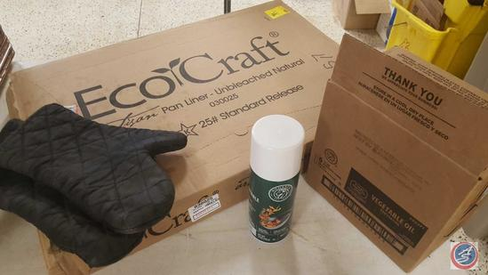 EcoCraft Unbleached Natural Ful Pan Liners; (6) {NEW} 14 oz. Aerosol Cans of Vegetable Oil Pan