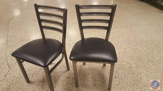 {{8X$BID}} (8) Welded Metal Frame Ladder Back Restaurant Chairs w/ Padded Seats {SOLD 8x THE MONEY}