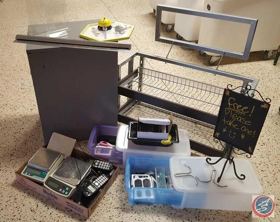 2-Shelf Retail Display Rack w/ Sign Stand; SS Kitchen Order Reciept Holder; (3) Panasonic Cordless