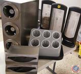 Dispense-Rite Cup Dispenser; Vollrath Flatware Utensil Sorter; (3) Tork Xpressnap Napkin Dispensers;