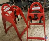 (2) Red Koala Kare Stackable Toddler Child High Chairs w/ Safety Straps