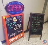 OnSale LED 'OPEN' Sign; (2) Sidewalk Sandwich Board Dry Erase Signs w/ Pens