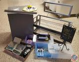 2-Shelf Retail Display Rack w/ Sign Stand; SS Kitchen Order Reciept Holder; (3) Panasonic Cordless
