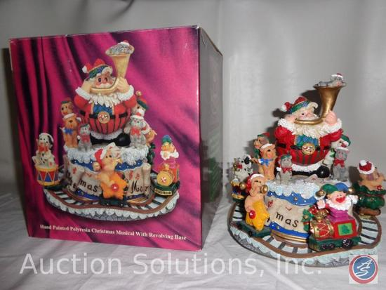 Hand Painted Polyresin Christmas Musical w/ Revolving Base (Plays 'We Wish You a Merry Christmas')