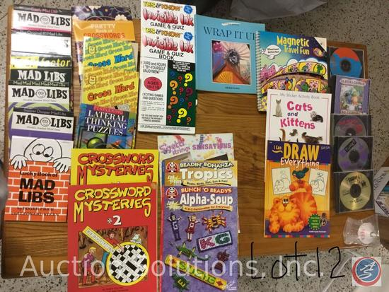 6 Mad Libs, 5 ''How To'' Books, 6 Crossword, 1 Sticker Book, Travel Fun, 2 Game/Quiz 5 CD's