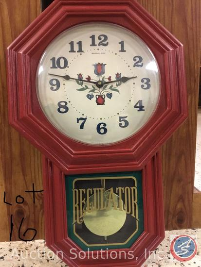 Red NEW Haven Quartz Clock 21.5'' x14'' (pendulum is just for looks), NEW Traditions 'Love and