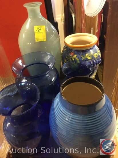 Blue Vase - Tallest 15'', Pottery (lined) 9 3/4'', Swirl Line 8'', Floral 9.5'', Tapered 9.5'',