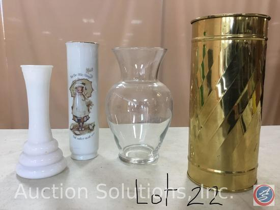 7 Vases-Clear Spiral line 9 3/4'', Green 9'', Clear 9 3/4'', Brass 8 1/4'', Short Clear 6'', White