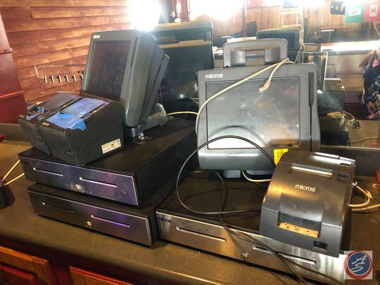 {{3X$BID}} Epson Micros POS System [[NO MODEL NO VISIBLE]], Cash Drawers and Receipt Printers