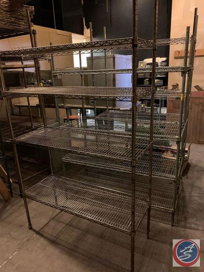 "{{3X$BID}} NSF Four Tier Wire Shelving Unit Measuring 47 1/2"" X 18"" X 85"", NSF Four Tier Wire"