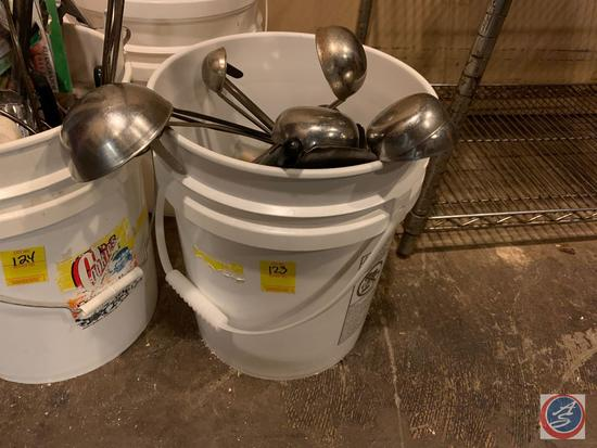 Ladles of Assorted Sizes and (3) 5 Gallon Buckets