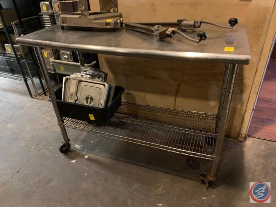 """Two Tier Stainless Steel Prep Table on Casters Measuring 49 1/2"""" X 24"""" X 39 1/2"""""""