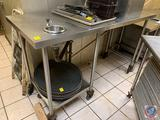 Stainless Steel Prep Table with Built-In Mini Sink Measuring 72