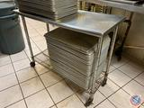 Stainless Steel Two Tier Prep Table on Casters Measuring 50