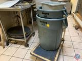 (2) 55 Gallon Rubbermaid Brute Trash Cans and Railroad Cart