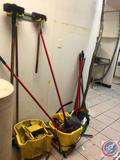 (2) Commercial Mop Buckets, Wet Floor Signs, Brooms and More