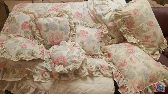 1989 JP Stevens Pink and Lavender Floral Bedding Set Includes; Bed Skirt, (2) Standard Size Pillows