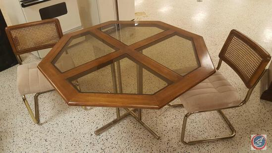 Retro Octagonal Glass Top Kitchen Table w/ Two Chairs