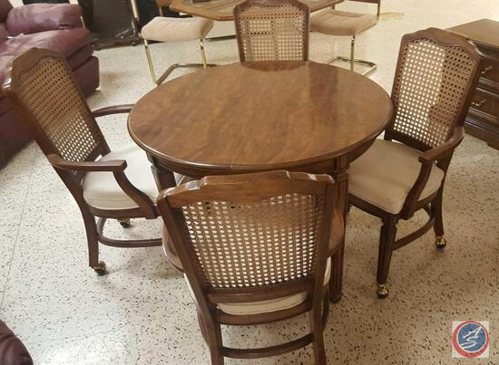Round Wood Kitchen Table w/ (4) Rolling Cane-Back, Padded Seat Armchairs