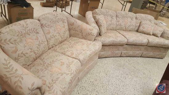 {{2x$BID}} Charles Custom Furniture Three-Seat Upholstered Sofa w/ Matching Accent Pillows, and a