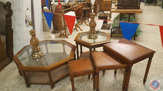 {{3x$BID}} Retro Octagonal Glass Top Coffee Table w/ Matching End Table, and a Small 3-Piece Nesting