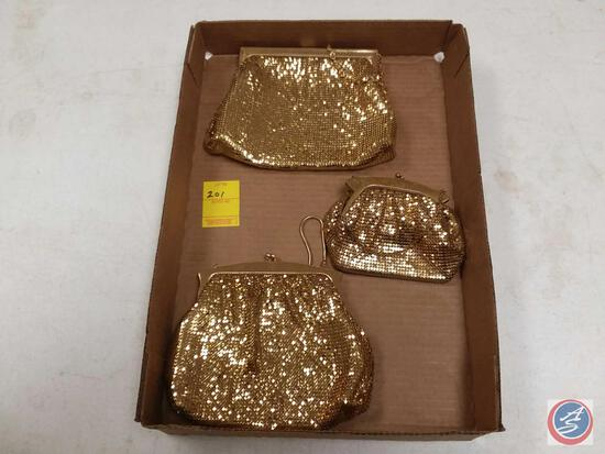 (3) Vintage Whiting + Davis Gold Mesh Handbags