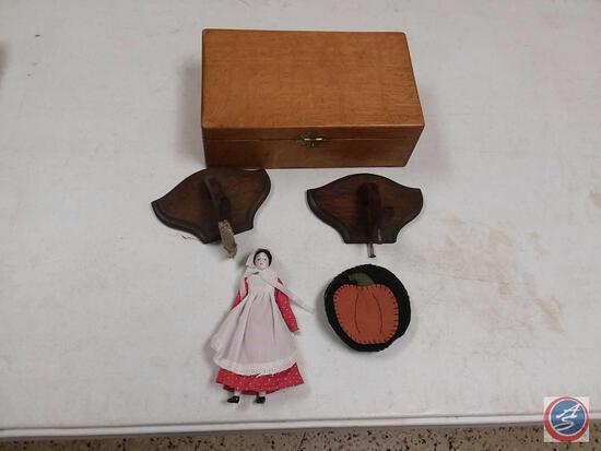 Wooden Cigar Box, Vintage Porcelain Face Doll and More
