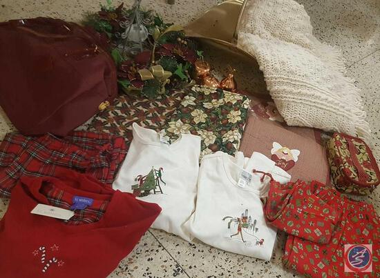 Miscellaneous Winter/Holiday Lot - Includes: Home Decor, (2) New Size L/XL Cotton Pajamas,