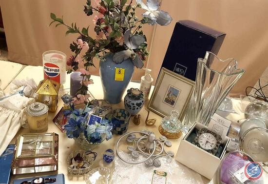 Collectibles and Home Decor Including Vintage Pepsi Glass, Glass Perfume Bottles and Paperweights,