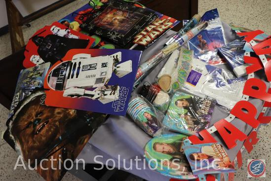 Star Wars Themed: Happy Birthday Banners, Paper Cups, (2) Napkins, Plates, Tablecloth, (2) Party