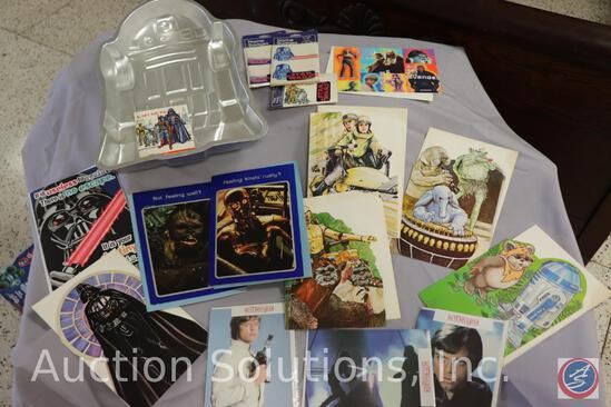 1980 Wilton R2-D2 Cake Pan Mold; Birthday Button; Gift Tag; (7) Birthday Greeting Cards; (2) Get