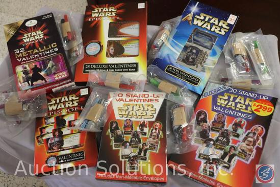 (6) {{NEW}} (Sealed) Boxes of Valentines; and (13) Light Saber Cereal Prizes