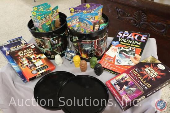 (2) Collector Buckets + Lids; (18) Star Wars PEZ; (5) Plastic Candy Dispensers; (4) (Opened) Boxes