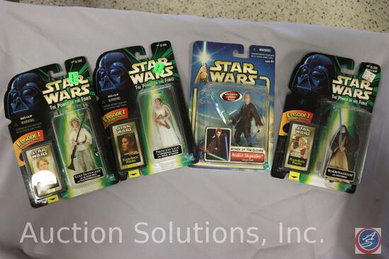 Attack of the Clones Action Figures on Card: Dual Saber Anakin; and (3) Power of the Force Action