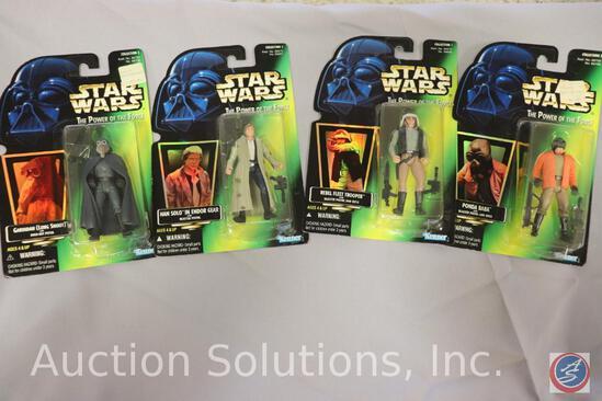 (4) Power of the Force Action Figures on Cards: Han Solo - Rebel Fleet Trooper - Long Snoot - Ponda