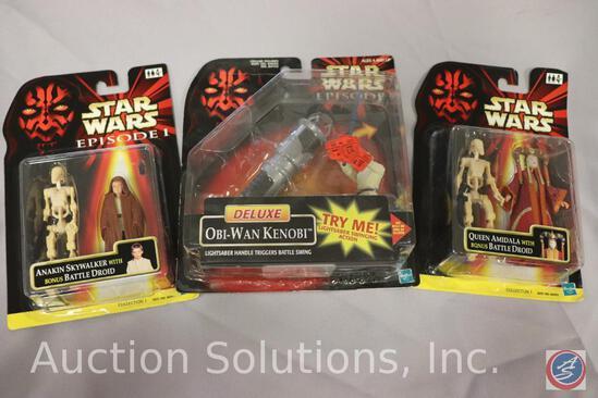 (3) Episode I Action Figures on Cards: Obi-Wan Kenobi - Anakin Skywalker - Queen Amidala - All MIP