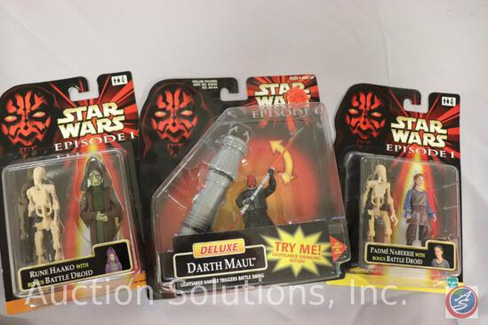 (3) Episode I Action Figures on Cards: Darth Maul - Rune Haako - Padme Naberrie and (2) Battle