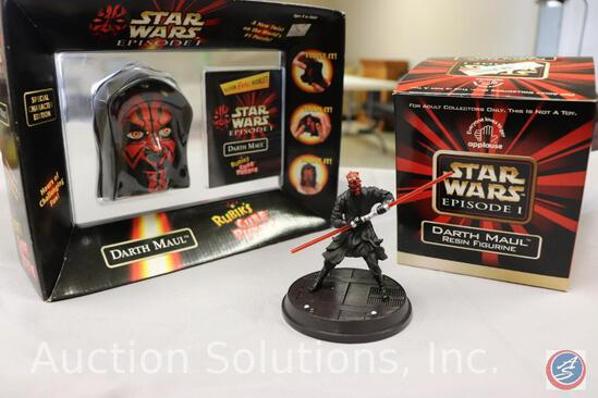 Darth Maul Rubix Cube; and Limited Edition Numbered Darth Maul Resin Figurine #1639/20,000 (Both FS