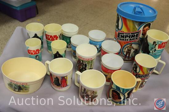 Plastic Beverage Pitcher w/ Lid + (4) Cups; (8) Tumblers; (5) Plastic Mugs; Bowl