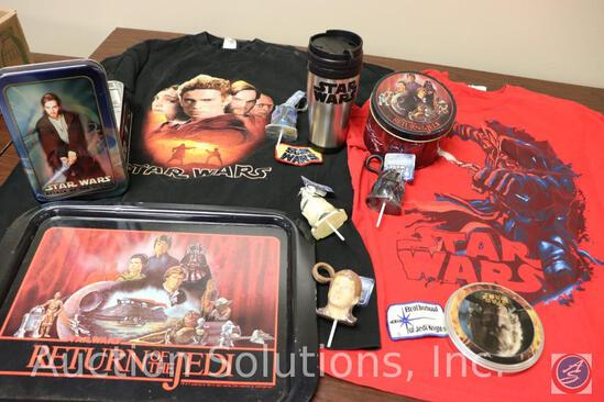 (2) T-Shirts; (3) Embroidered Cloth Patches; Star Wars Travel Mug; Return of the Jedi Metal Tray and