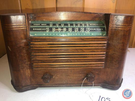 General Electric Broadcast Short Wave Radio Stamped 5709 Cabinet by Ingrahm Bristol USA