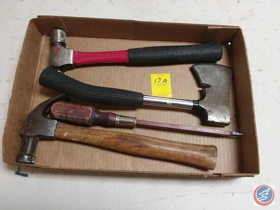 (2) Carpenter Hammers; Hatchet; Straight Screwdriver