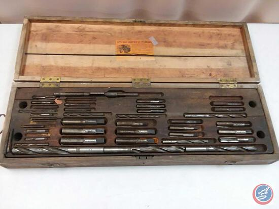 Vintage Wells Bros. Co. 'Little Giant' US Naval Tap and Die Set in Wood Case