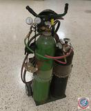 Oxy Acetelyne Gas Tanks on Welding Cart w/ Gauges, Goggles, Hood, Hoses and Torch Heads