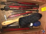 Brush, Tupperware Baster, Assorted Sized of Rail Road Spikes, Metal Punch and More